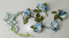 Vintage Velvet Blue Two Toned Roses Silk Blue Bells Flowers Millinery