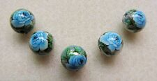 5 Japanese Tensha Beads BLUE ROSE on SILVER MIRACLE ROUND Beads 12mm