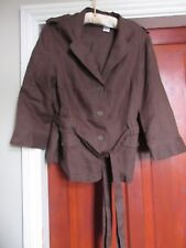 La redoute dark brown 100% linen belted safari look jacket