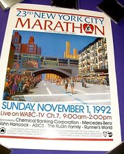 Vintage Original New York City Marathon Poster, Nov. 1, 1992, 20 in. x 26 in.