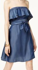 Michael Kors Womens 1064 Blue Ruffled Pleated Sleeveless Dress L B B