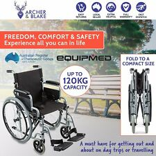 EQUIPMED Folding Wheelchair Light Weight Wheel Chair Manual Seat Belt Transit