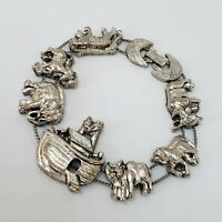 Vintage Noah's Ark Animals Silver Tone Slider Bracelet Statement Jewelry