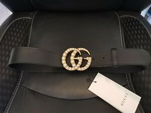 Gucci Black Leather Belt With Pearl Double G Buckle - SZ80