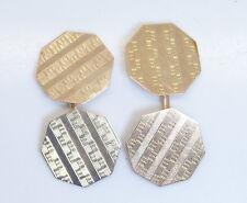 NICE! Antique 10K Yellow Gold Double Textured Cufflinks Circa 1930's