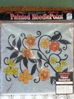 Columbia Minerva Vtg 1972 Painted Needlepoint 16x20 Canvas Orange Blossoms 1733