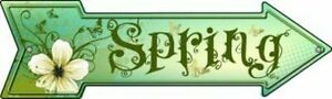 "Spring Flowers Mini Metal Arrow Sign 3"" x 8"" Wall Decor - DS"