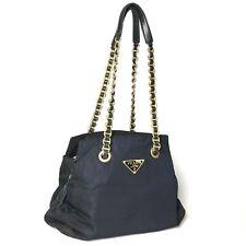 PRADA nylon shoulder bag chain shoulder Navy Gold Hardware Used 1448-10bZ55
