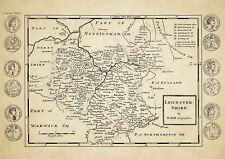 Leicestershire County Map by Herman Moll 1724 - Reproduction