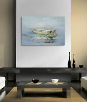 Hungryartist - NY artist - Large modern original abstract oil painting of boat