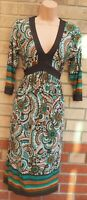 NEXT WHITE BROWN BOHEMIAN BAROQUE FLORAL V NECK A LINE MIDI FUNKY DRESS 10 S