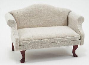 Dollhouse Miniature Sofa Mahogany, with Beige Fabric