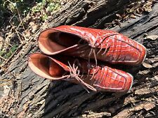 Brown leather 'crocodile skin' effect ankle boots size 38 Vincente & Banuz