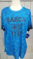 BARCA Barcelona FC Official Shirt Size L Blue & Black XL Extra Large Soccer NWT