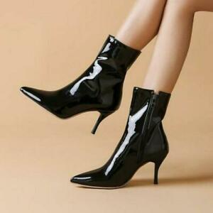 Womens Fashion Pointy Toe Ankle Boots High Heel Stiletto Patent Leather Shoes