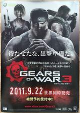 Gears of War 3 RARE XBOX 360 51.5 cm x 73 cm Japanese Promo Poster
