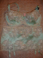 NWT VICTORIA'S SECRET VERY SEXY UNLINED DEMI SET SKIRT M BRA 36C GREEN SEDUCTION