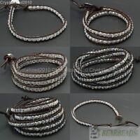 Hot Colorful Handmade Top Crystal Gemstones Beads Wrap Brown Leather Bracelet