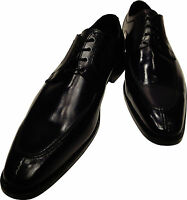 Men's Ronaldo Handmade Solid Black Italian Leather Oxford Tie Dress Shoes $350