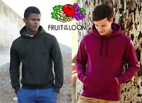 FRUIT OF THE LOOM felpa CAPPUCCIO maglia NO ZIP 18 colori  UOMO Hoodie CLASSIC #