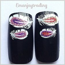 Nail Art  Decals/Stickers/ Transfers #106 White Feathers With Gold Red Pink Purp