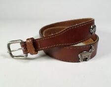 Concho Harness Leather Belt Tribal Bull Buffalo Bird Turtle Sun Brown 30 32 USA