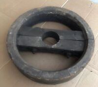 """Large 16"""" Antique Industrial Factory Wood Belt Pulley Massey Harris Tractor Old"""