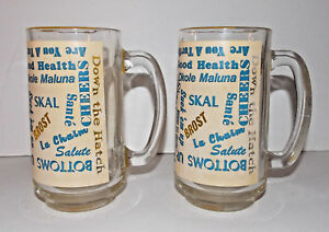 Vintage Beer Mug Lot 2 Yellow Glass 6in Cheers Sayings Quotes Bar Ware Cups
