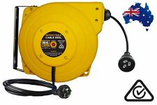 20M REAL TOUGH RETRACTABLE EXTENSION POWER LEAD CORD REEL AUSTRALIAN CERTIFIED