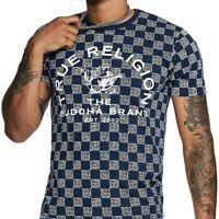 True Religion Men's All-Over Checkered Buddha Logo Tee T-Shirt in Ace Blue