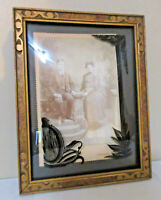Vtg Gold Wood Frame Curved Glass Reverse Painted Cabinet Photo Young Couple