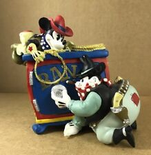 """Cowboy Mickey Mouse And Bad Pistol Pete Safe Coin Bank 5"""" T  5"""" X 6"""" Base EUC"""