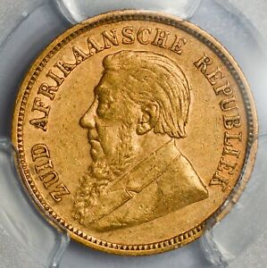 GRADED ABOUT UNCIRCULATED 1896 SOUTH AFRICA Boer Republic Gold Kruger Half Pond