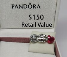 New w/Hinged Box Pandora Gift Set of 3 Cat Theme Charms Purrfect In My Heart
