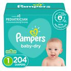 Pampers Baby-Dry Extra Protection Diapers, Size 1, 204 Count