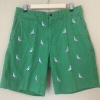 Polo Ralph Lauren Mens Chino Shorts Sz 33 Sailboat Green Embroidered