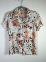 Ripcurl womens white floral button up shirt size XS short sleeve rayon