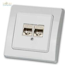 DELPHI Unterputz 2-fach Netzwerk-Dose, 2x CAT6 300MHz Gigabit LAN UP-Rahmen weiß