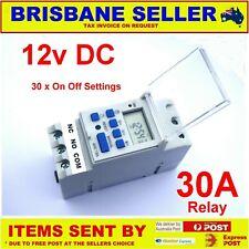 ELECTRONIC TIMER DIGITAL 12V DIN MOUNT 30A NO NC 24/7  SOLAR LIGHTS  POOL