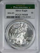 2016 American Silver Eagle STRUCK AT THE PHILADELPHIA MINT PCGS MS68