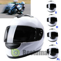 HOT DOT White Full Face Helmet Motorcycle Motorbike Street Adult Visor S M L XL