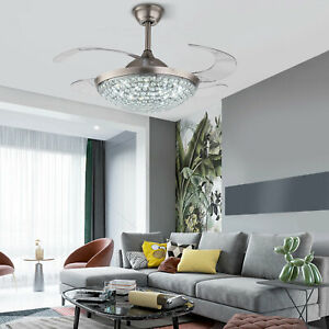 """Modern Crystal 42"""" Ceiling Fan LED Light Retractable Invisible w/ Remote Control"""