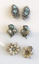 Vintage Clip Earrings 3 Pairs Silver With Blue Stone, Gilt & Flower, Faux Pearl