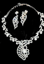 Stunning Celebrity Silver Earring Necklace Jewellery Set New Gift Fancy Stones