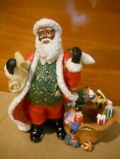 Nib Partylite Checking His List Tealight Holder, Africian American Santa, Box