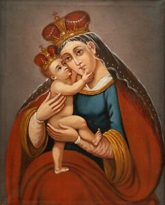 1700s Antique Oil Painting Virgin Mary Child Jesus Christ Holy Religious Old Art