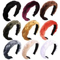 Women Twist Braid Headband Gold Velvet Cross Knot Hair Hoop Hair Accessories NEW