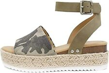 Soda Womens VALETT Open Toe Casual Ankle Strap Sandals, L-kha Camo, Size 10.0 lM