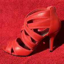 LAURA SCOTT High Heels Riemchen Sandalette Damen Pu Leder Rot Pumps Schuhe 37