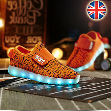 USB Charge LED Flash Light Up Shoes Kids Boys & Girls Casual Trainers Sneaker UK